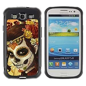 Hybrid Anti-Shock Defend Case for Samsung Galaxy S3 / Sugar Skull Body Paint