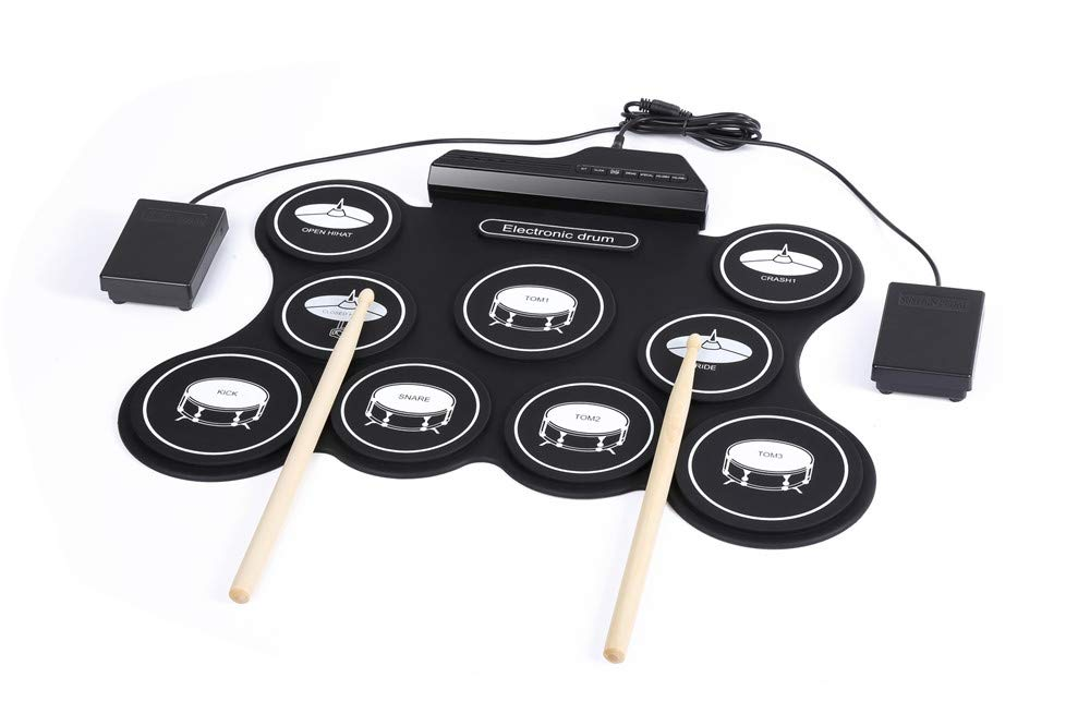 JFGUOYA Electronic Drum Set, 9 Pads Electric Drum Set with Headphone Jack, Built in Speaker, Drum Stick, Foot Pedals, Best Gift for Kids or Beginner Holiday Birthday