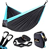 "Anortrek Camping Hammock, Lightweight Portable Single & Double Hammock with Tree Straps [10 FT/18+1 Loops], Parachute Hammock for Camping, Hiking, Garden, Yard (Grey&Blue, Double 78""W x 118""L) Review"