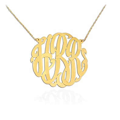 Amazon gold monogram necklace 1 inch 24k gold plated sterling gold monogram necklace 1 inch 24k gold plated sterling silver custom necklace personalized monogram initial necklace aloadofball Gallery