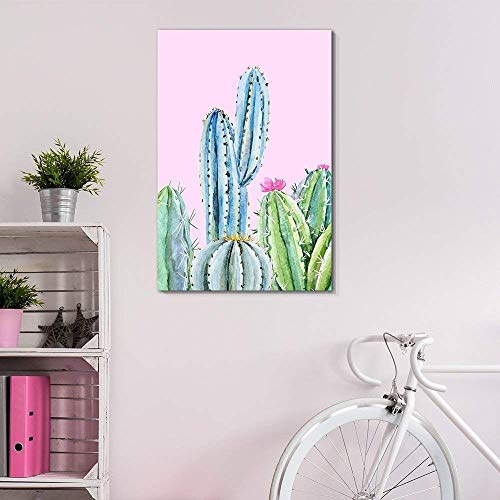 """wall26 Canvas Wall Art Succulent Plants Series - Cactus on Pink Background - Giclee Print Gallery Wrap Modern Home Decor Ready to Hang - 24"""" x 36"""" from wall26"""