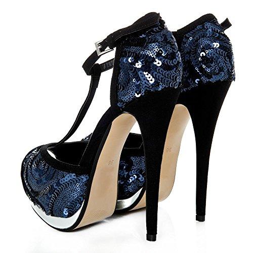 Peep Sequin T High Platform Concealed Heel NAVY Toe SEQUIN Bar Stiletto Shoe 1qwH5
