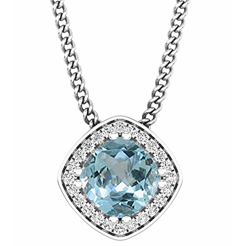 Dazzlingrock Collection 14K Cushion Cut Aquamarine and Round Cut White Diamond Ladies Halo Style Pendant (Silver Chain Included), White ()