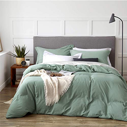 Bedsure Sage Green Duvet Cover Set with Zipper Closure Twin Size(68x90 inches)-2 Pieces (1 Duvet Cover + 1 Pillow Sham) Ultra Soft Hypoallergenic Microfiber