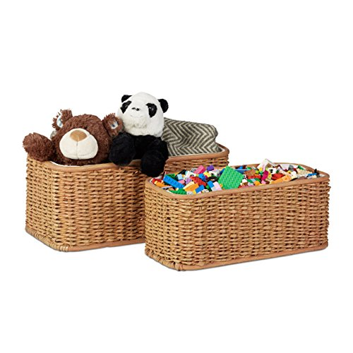 Relaxdays Buri Basket Set, 2 Woven Decorative Boxes, Lined Buri Storage Baskets, Honey-Brown ()
