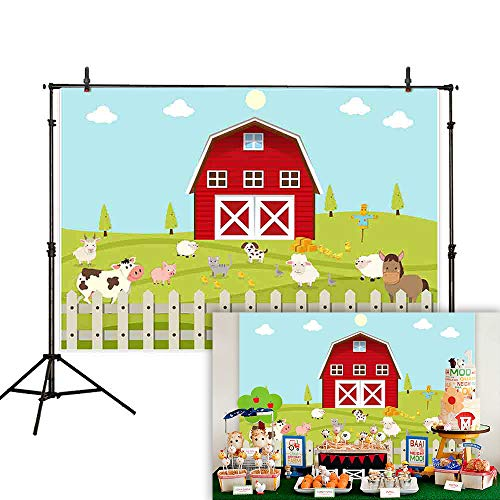 Allenjoy 7x5ft Cartoon Red Farm Animals Backdrop Grassland Blue Sky Fence Children Birthday Party Newborn Baby Shower Kids Photography Background Decoration Photo Studio Props