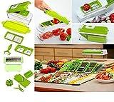 WebelKart 12-Piece Vegetable Cutter, Chopper, Slicer, Mincer, Blender, Mandolin, Grater, Peeler (Green)
