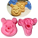 1 Set Cute Laughed Tiger Winne Bear Design Baking Cookie Fondant Cake SugarCraft Biscuit Chocolate Clays DIY Modelling Paste Decorating Plunger Cutter Stamp Pull Press Mold Tools Tool