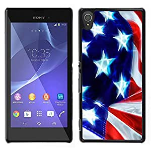 LECELL--Funda protectora / Cubierta / Piel For Sony Xperia T3 -- Estrella y rayas --
