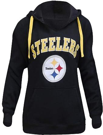 sports shoes b1252 a20ab LockQ Womens Sporty Football Steelers V-Neck Sweatshirt Pullover Hoodie