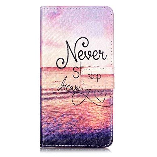 Qiaogle Teléfono Case - Funda de PU Cuero Billetera Clamshell Carcasa Cover para Vodafone Smart Ultra 6 (5.5 Pulgadas) - YH24 / Anchor + Smile YH16 / Never Stop Dreaming