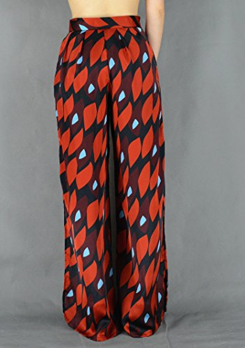YSJ Women's Long Palazzo Pants Split Maxi Culottes Wide Leg Trousers (8-10, Red) by YSJ (Image #4)