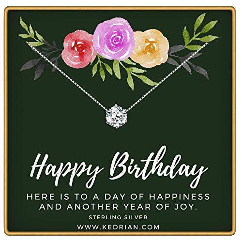 KEDRIAN Happy Birthday Necklace, 925 Sterling Silver, Happy Birthday Mom Gifts, Fun Birthday Gifts for Women, Birthday Jewelry for Women, Sentimental Birthday Gift, Birthday Gifts for -