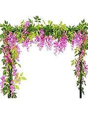 2 st konstgjorda blommor vinstockar, 2 m/2 m falsk blåregn krans, hängande vinstockar växter med gröna blad för väggdekoration hem bröllop trädgård fest dekoration
