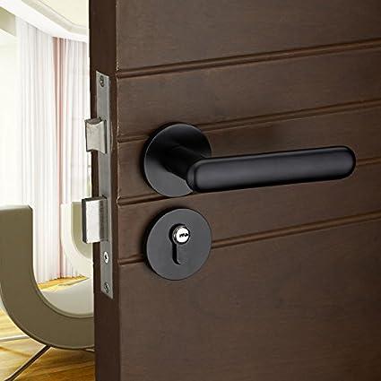 vanme Simple espacio de estilo europeo aluminio negro puerta interior de madera puertas de cerradura para