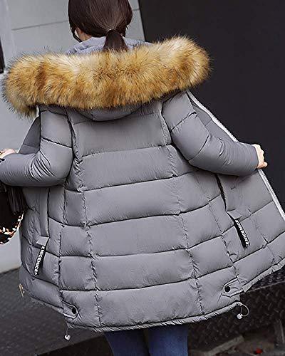 Manteaux Plus coloré S La Gris Puffer Fuweiencore Noir Jacket Léger Dames Matelassé Long Décontractée Capuche Taille zq7wXg