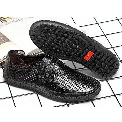 Piso para Zapatos on Color para Piel de Caballeros Vaca Superior de Redonda Cuero Hombre Negro Punta único 39 shoes Mocasines tamaño para de 2018 EU Slip Hombre Genuino Hongjun holgazán Negro de Rw5WPaTqF