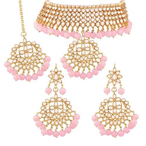 I Jewels Traditional Kundan & Pink Pearl Choker Necklace Set for Women (K7058Pi)