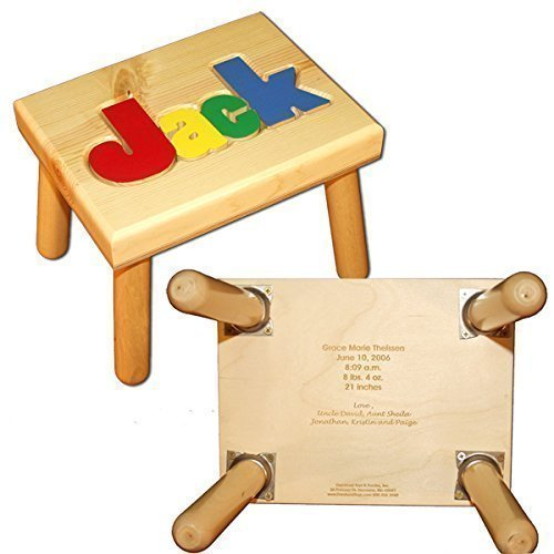 Puzzle Stool Primary (Name Puzzle Stool in Primary Colors WITH Engraved Message)