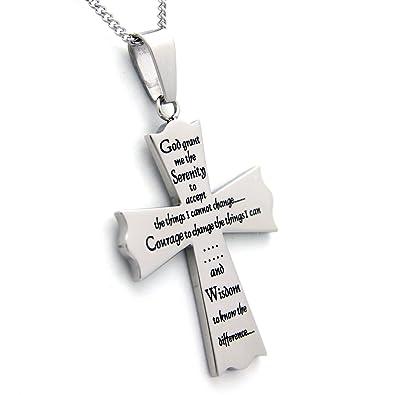 Amazon serenity prayer cross pendant necklace 18 inch chain serenity prayer cross pendant necklace 18 inch chain 12 step gifts religious necklace aloadofball Images
