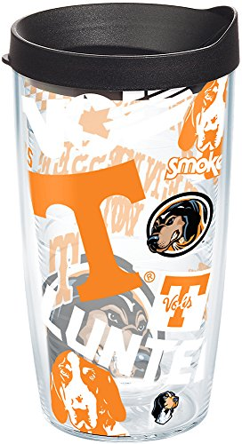 (Tervis 1251532 NCAA Tennessee Volunteers All Over Tumbler with Lid, 16 oz, Clear)