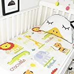 KFZ-1-Piece-100-Organic-Cotton-Animals-Printed-Mini-Fitted-Crib-Sheet-24x47Ultra-Soft-Breathable-Toddler-Nursery-Bedding-for-Boys-and-Girls-Suitable-for-Babies-Mattress-Zoo-White-24x-47
