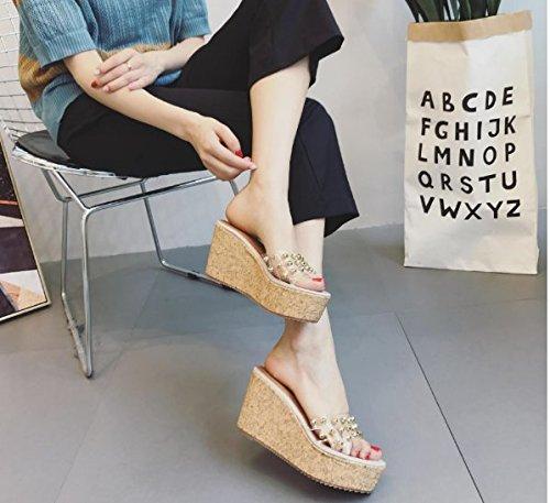AJUNR Moda/elegante/Transpirable/Sandalias Zapatillas y versátil 8cm con pendiente grueso remaches beige 38 37
