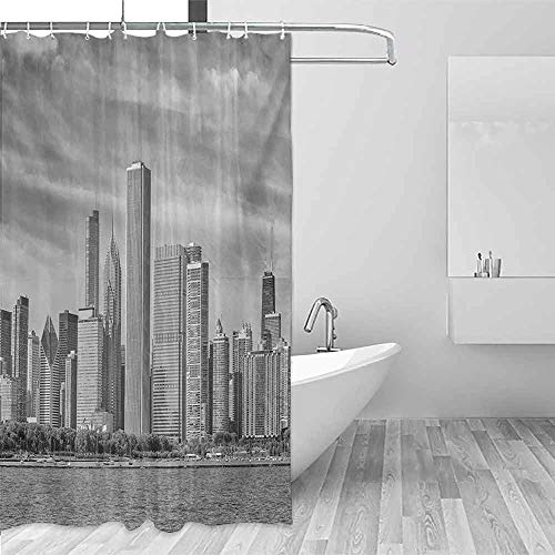(Xlcsomf Odorless Shower Curtain Chicago Skyline Black and White Filtered Photo of Waterfront Cityscape on a Cloudy Day Print Easy Installation Grey,W36 xL72)