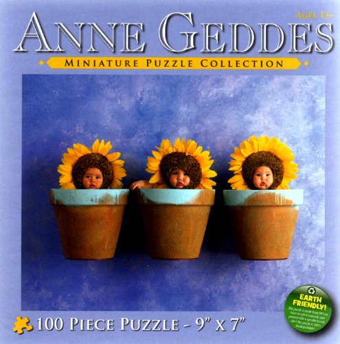 Anne Geddes Miniature Puzzle Collection: Down in the Garden Series #7700-7 Babies in Sunflower Pots - Anne Geddes Flower Collection