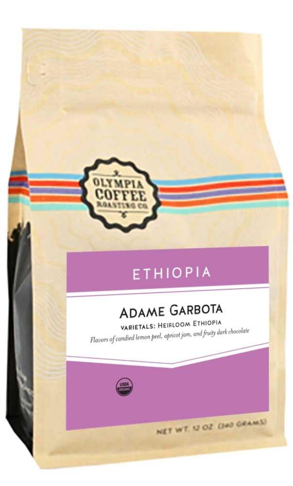 Olympia Coffee ''Ethiopia Adame Garbota Organic'' Medium Roasted Fair Trade Organic Whole Bean Coffee - 5 Pound Bag