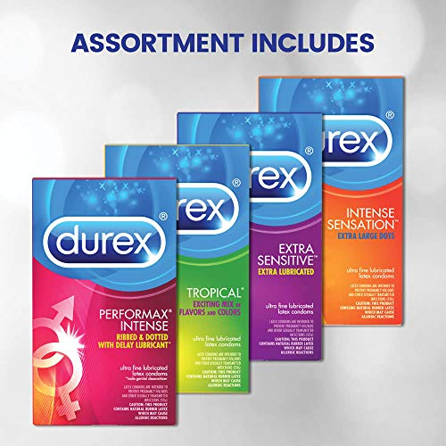 Condoms, Natural Latex Condoms, Durex Condom Pleasure Pack Assorted Condoms, 42 Count - An exciting mix of sensation and stimulation, HSA Eligible