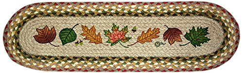Braided Stair Runners - Earth Rugs 49-ST024 Autumn Leaves Printed Oval Stair Tread, 8.25 by 27