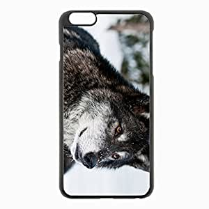iPhone 6 Plus Black Hardshell Case 5.5inch - wolf muzzle eyes predator Desin Images Protector Back Cover