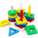 Stonepack Colorful Recognition Geometric Board Block Stack Wooden Educational Preschool Shape Sort Chunky Puzzle Toys, Christmas Gift Toy for Kids Children Baby Toddler Boy Girl
