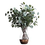 3 PCS Artificial Silver Dollar Eucalyptus Leaf Spray in Green Fake Leaves Indoor Outside Home Garden Office Wedding Décor