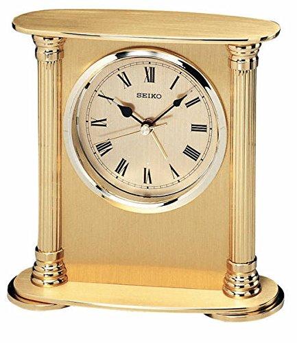 Brand New Seiko Clock - Executive Solid Brass Column Desk Clock QHE102GL (Solid Brass Columns)