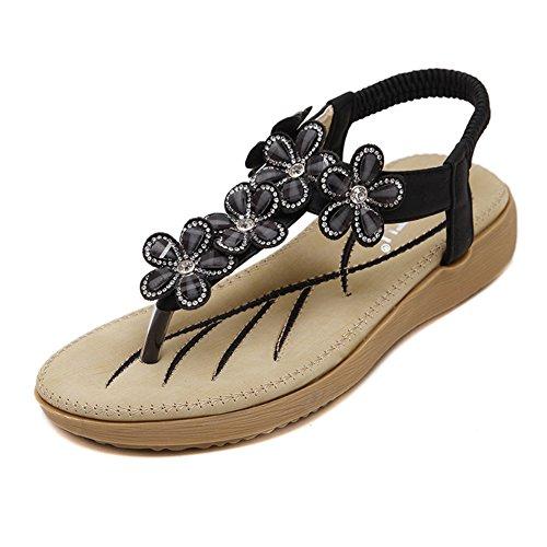 Btrada Womens T-strap Sandales Plates Glitter Fleur Bohême Sandales De Plage Noir