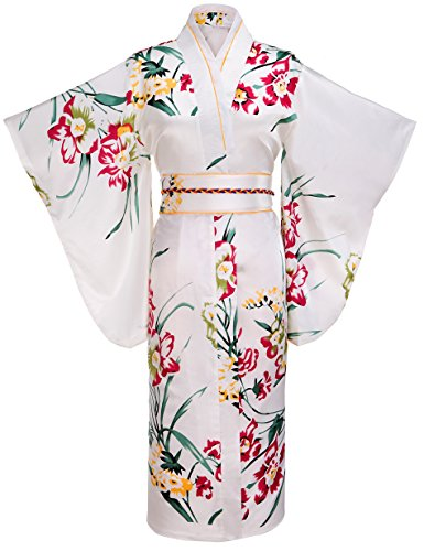 Fadshow Women's Traditional Flower Pattern Kimono robe With A Small Backpack (Geisha Halloween Costume)
