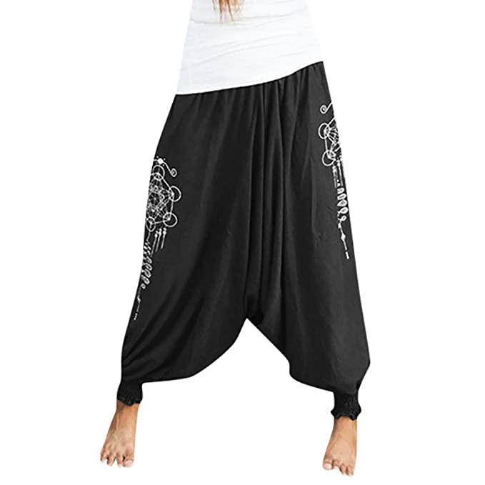 Womens Smocked Waist Boho Flowy Yoga Harem Pants Hippie Bohemian Yoga Travel Lounge Festival Beach Pants