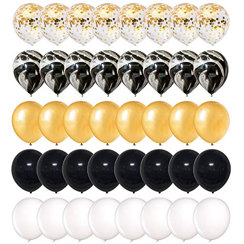 Mayen 40 Pcs 12 Inch Gold Confetti and Black Agate Marble Balloons, Black Gold and White Latex Balloons Set for Birthday Party Decorations Wedding Baby Showers Graduation Hollywood Oscar Decorations -