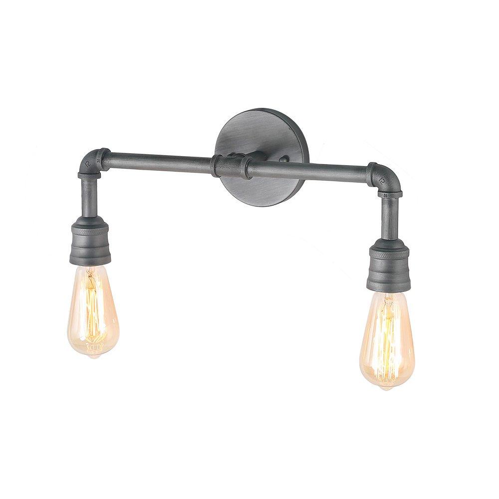 LNC 2 Water Pipe Bathroom Bath Lamp Industrial Sconces Wall Vanity Lighting Fixtures, A03373