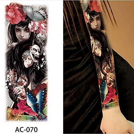 3 Piezas Pintura de Cuerpo Completo Pierna Brazo Pegatinas de Tatuaje a Prueba de Agua Mangas Chica con Rosa Tatuaje Mujer DIY Fiesta