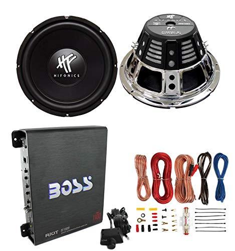 2) HIFONICS HFX12D4 12″ 1600W Car Audio DVC Subwoofers +Mono Amplifier+Amp Kit