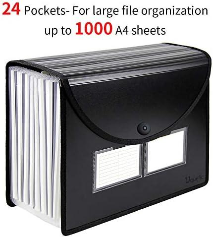 Uquelic Trieur Document A4 Extensible 12 Compartiments Porte Document Accord/éon Document Fichier Wallet Boite de Classement avec un Couvercleet Porte-cartes de Visite(Couleur)