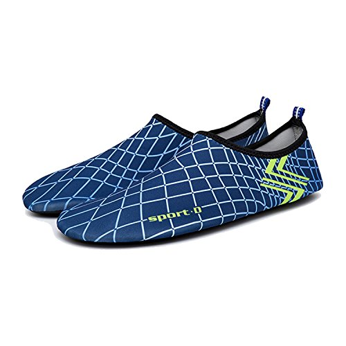 ba Messer Wasser Schuhe Mens Womens Beach Swim Schuhe Quick-Dry Aqua Socken Pool Schuhe für Surf-Wasser-Aerobic Blau und weiß
