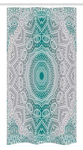 Ambesonne Grey and Teal Stall Shower Curtain, Mandala Ombre Sacred Geometry Occult Pattern with Flower Lines Display Artwork, Fabric Bathroom Decor Set with Hooks, 36 W x 72 L Inches, Teal Grey