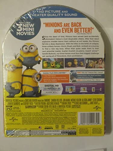 Minions Exclusive Metal Packaging Collector's Limited Deluxe Edition Blu-Ray/DVD/Digital HD