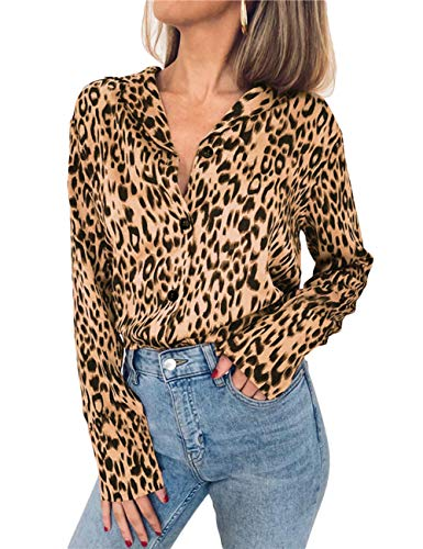 Women's Oversize Long Sleeve Cheetah Graphic Blouse Tops Animal Printed Leopard Button Up Chiffon Dress Shirt(KH-M) Khaki
