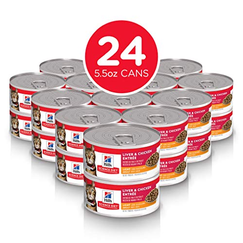 Hill's Science Diet Wet Cat Food, Adult, Light for Healthy Weight & Weight Management, Liver & Chicken Recipe, 5.5 oz Cans, 24 Pack