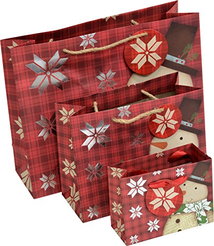 18 Christmas Gift bags 6 Large, 6 Medium and 6 extra small vogue, Raffia and Ribbon handles, foil hot stamp accents, for wrapping holiday gifts